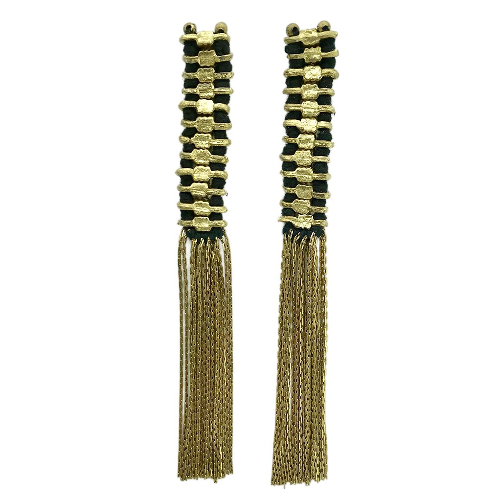 Temple Tassel Gold Earrings