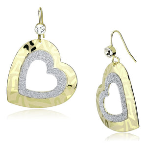 Double Heart Shimmery Gold Earrings with Top Grade Crystal