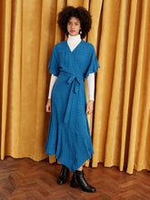 Load image into Gallery viewer, Kitri blue wrap dress available to rent - full body front view on model