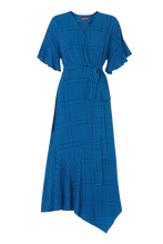 Load image into Gallery viewer, Eliana Blue Check Wrap Midi Dress