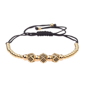 Elegant Beaded Gold Lace Up Bracelet