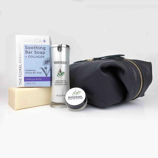 Marvesol men's Giftset: Marvesol's After Care Cream  + Wolfhardt's all leather Dopp pouch,  + screw top travel size, and Arnica Soothing Bar + Collagen Soap!