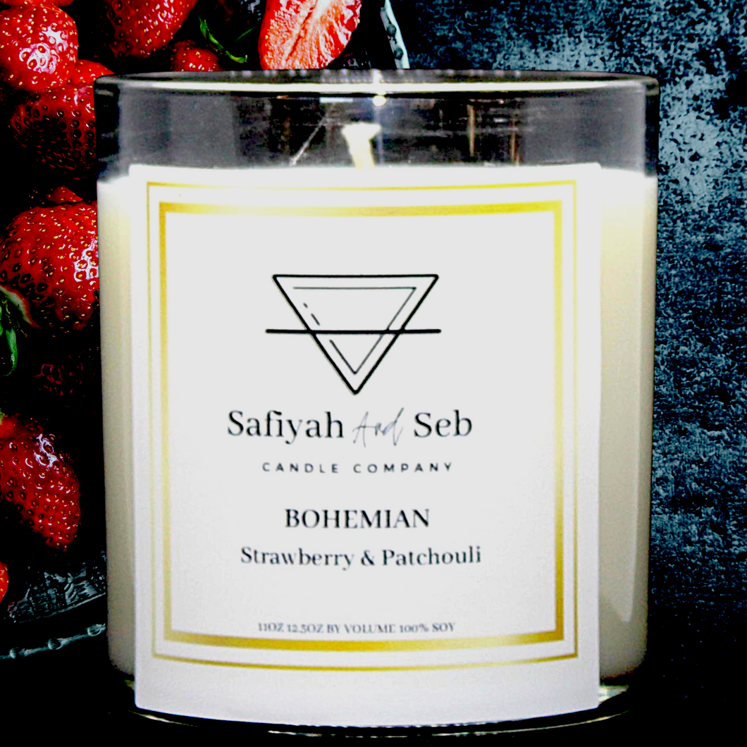 BOHEMIAN- Strawberry and Patrouille soy scented candle