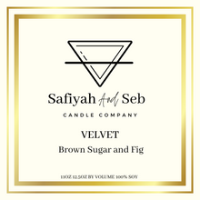 Load image into Gallery viewer, Velvet- Fig and brown sugar scented soy candle