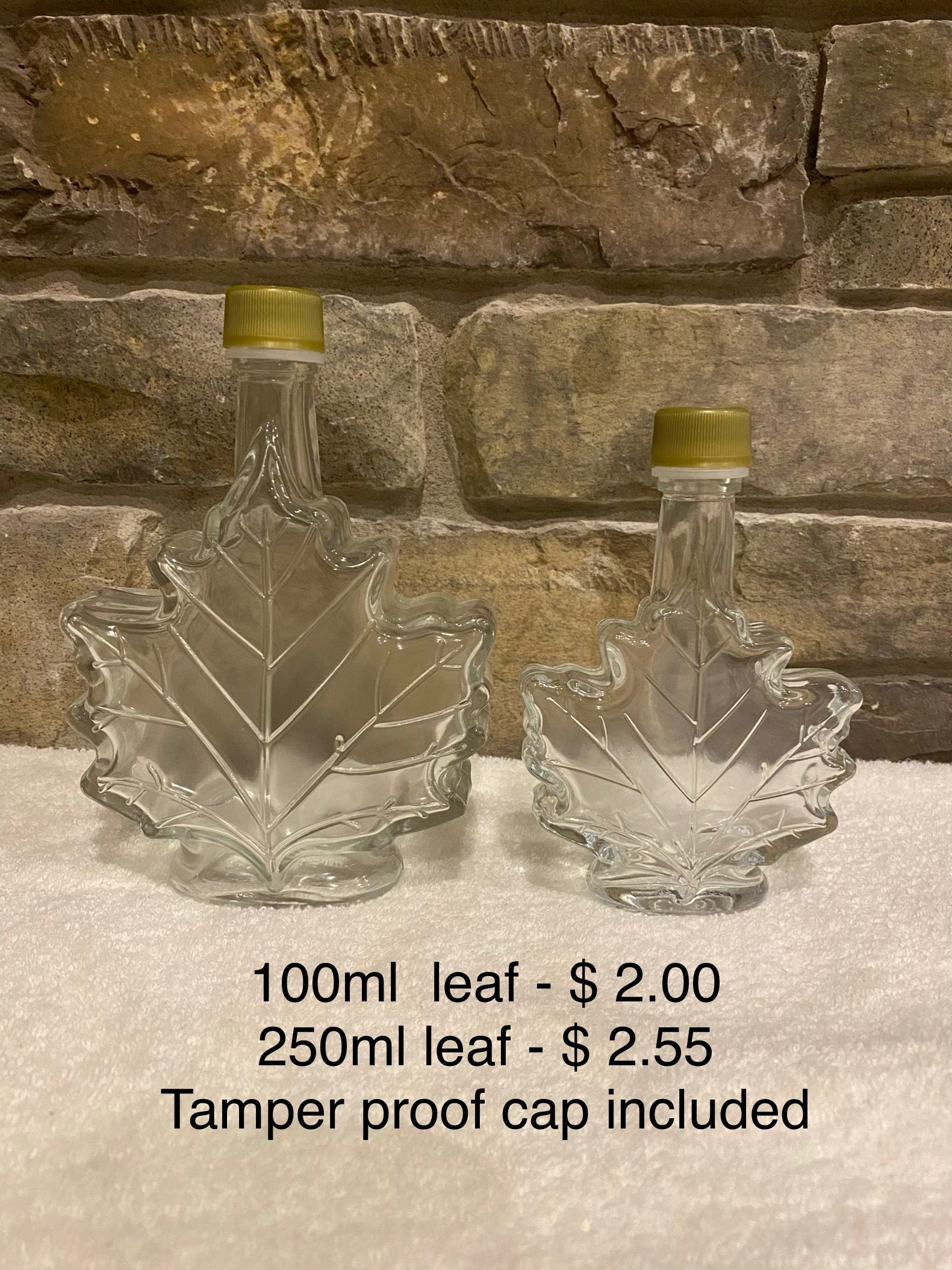 Maple leaf glass bottles