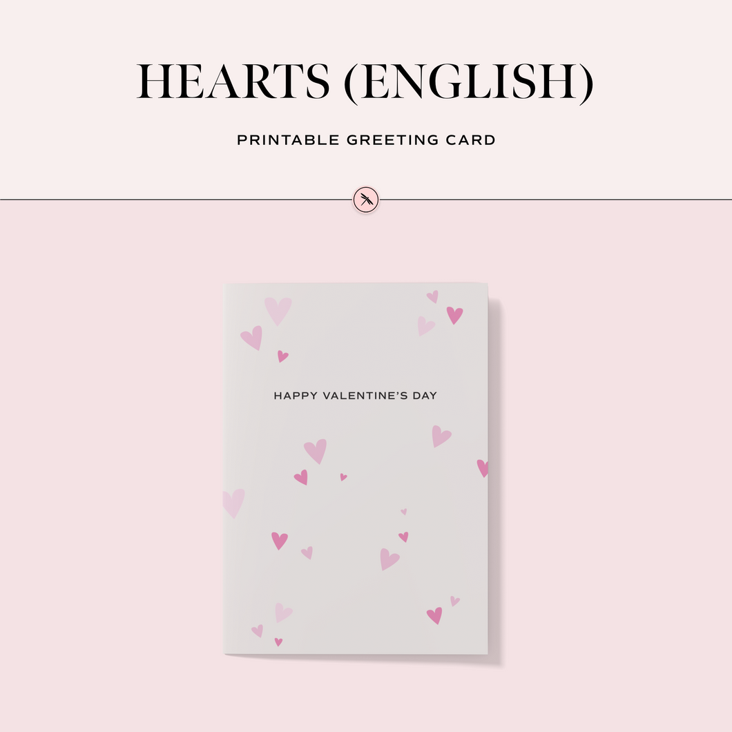 Hearts (English) Printable Greeting Card