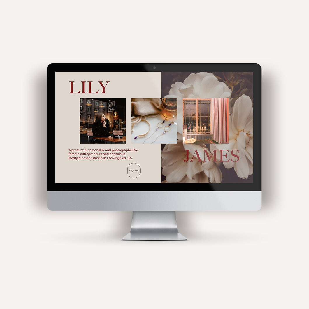 Lily James 1-Page Website Template