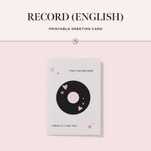 Load image into Gallery viewer, Record (English) Printable Greeting Card