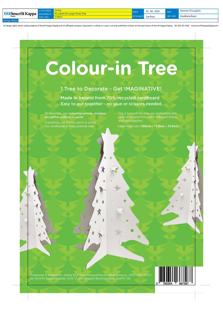 Recycled 3-D colour-in Christmas Trees (1 Metre) - Sweet Beat Sligo