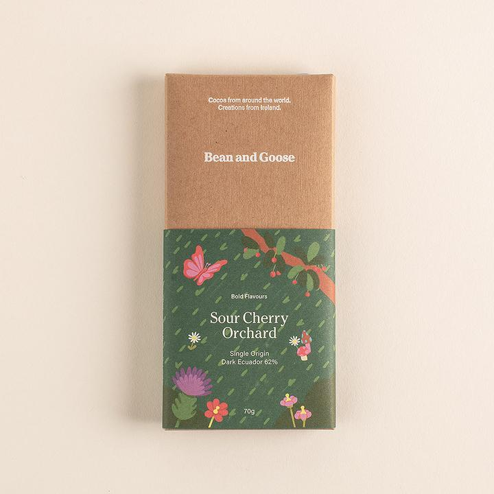 Sour Cherry Orchard Dark Chocolate Bar - Sweet Beat Sligo