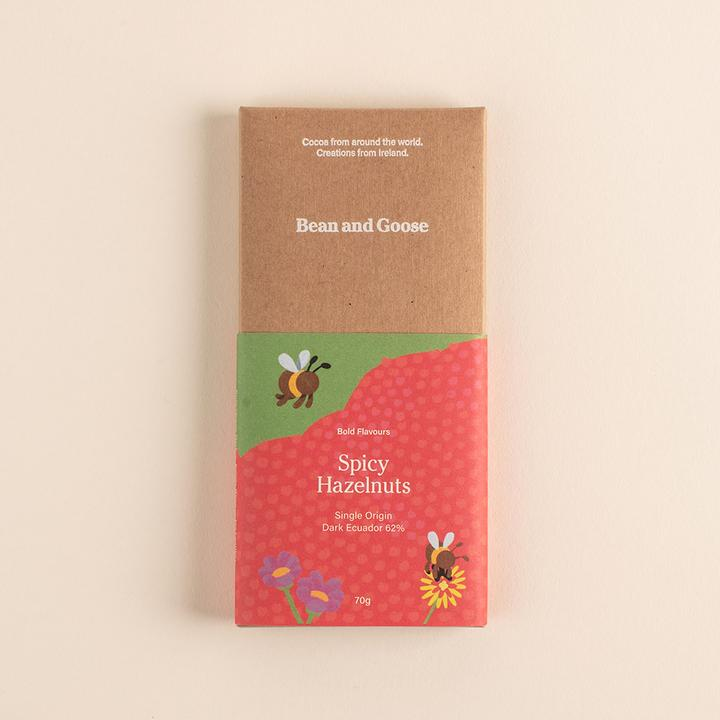 Bold and Spicy Hazelnuts Dark Chocolate Bar - Sweet Beat Sligo