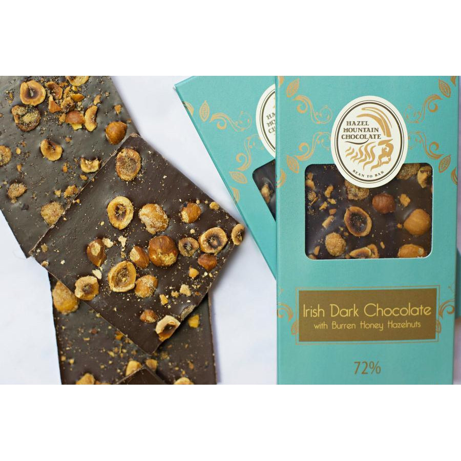 Hazel Mountain 72% Venezuelan Dark Chocolate with Burren Honey Hazelnuts