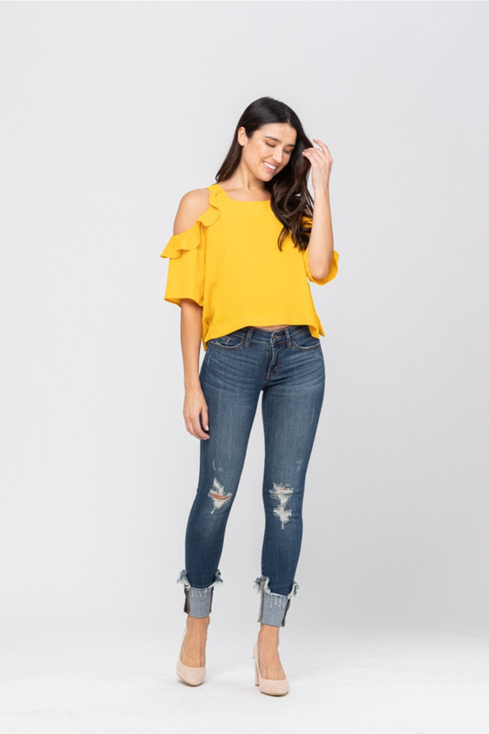 Cuffed in Style Destroyed Judy Blue Jeans  These dark washed, cuffed jeans offer the perfect look for the Fall weather! Rock these comfy Judy Blue jeans with a classic raglan tee or dress them up with a stunning blouse or tunic for the perfect style wherever your day may take you.