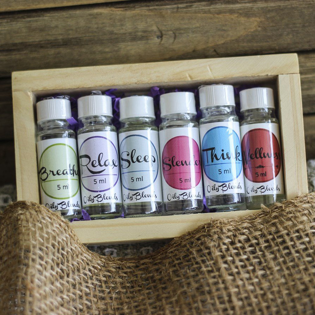 Essential Oil Set + Wood Box - Luxe Personalization Boutique
