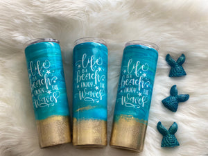 Beach Tumbler | Custom Tumbler | Glitter Tumbler | Custom Beach Tumbler| Vacation Tumbler | Beach wedding | Bridesmaids Gift | Birthday Gift - Luxe Personalization Boutique