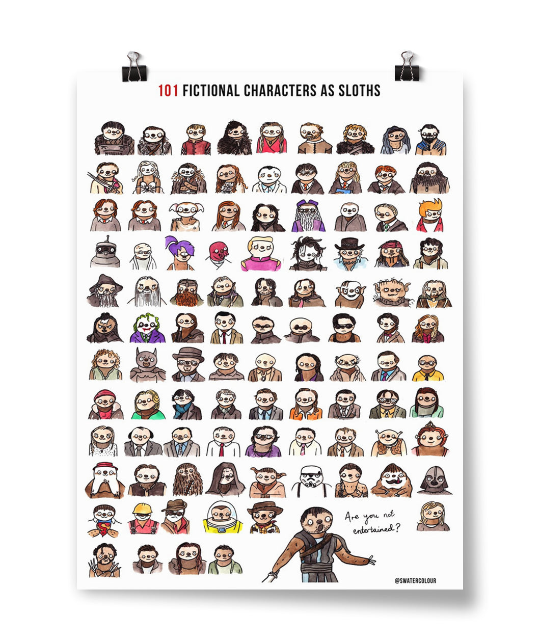 101 Fictional Characters as Sloths Poster