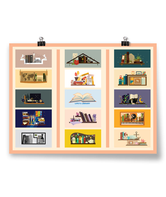 Life's Library Shelves Poster