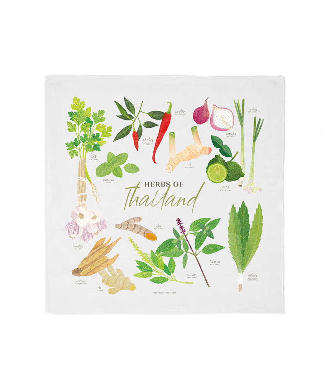 Herbs of Thailand Tea Towel