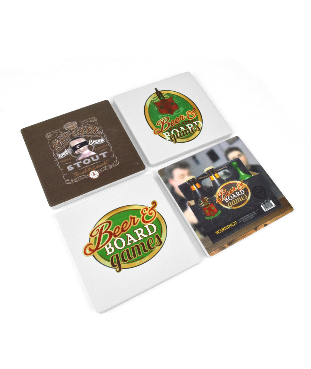 Beer & Board Games Ceramic Coasters