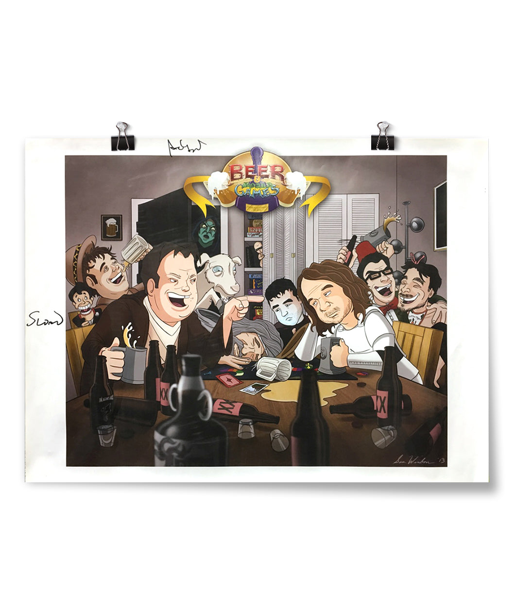 Caricature Beer And Board Games Poster
