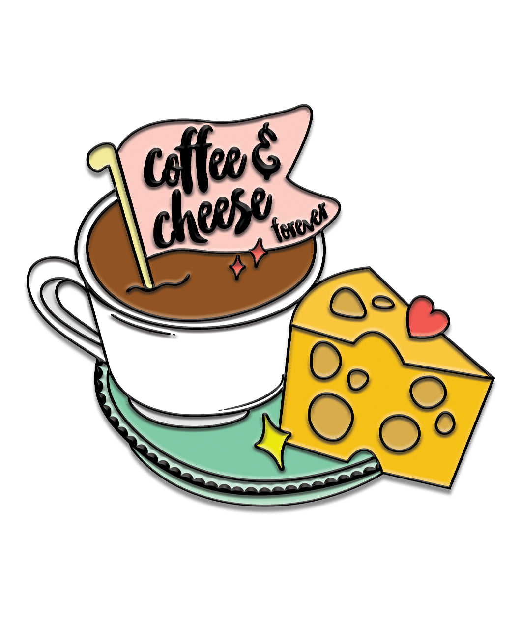 Coffee and Cheese Enamel Pin