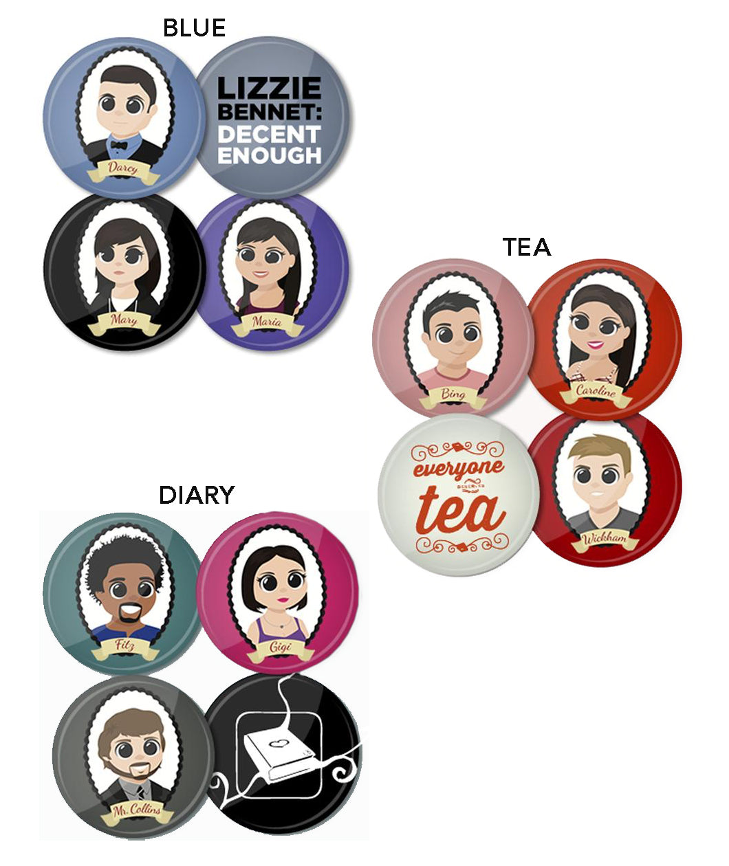 Lizzie Bennet Button Packs