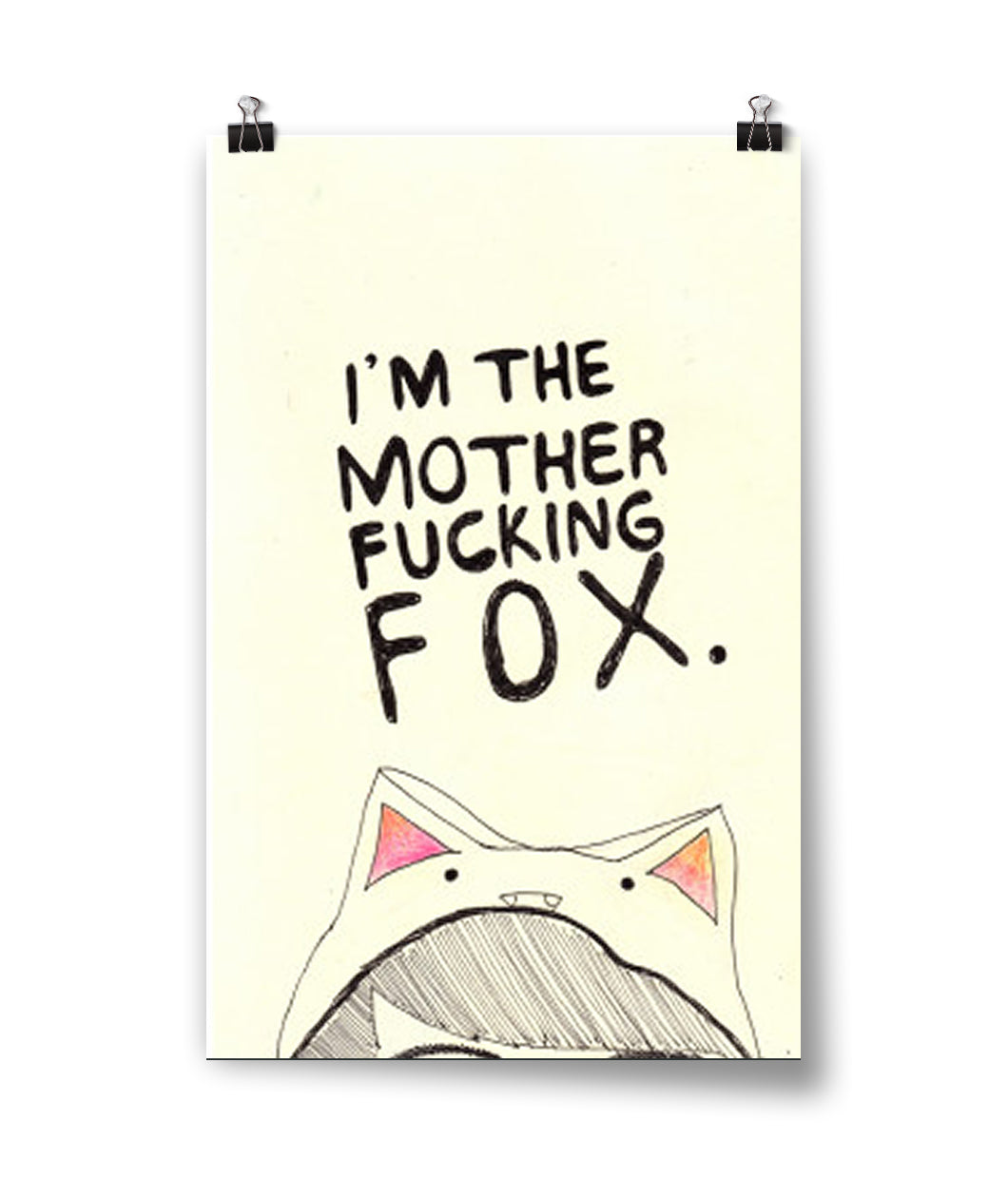 Mother Effing Fox Watercolor Poster
