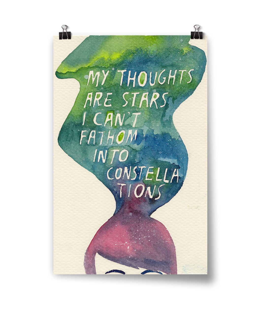 My Thoughts Are Stars Watercolor Poster