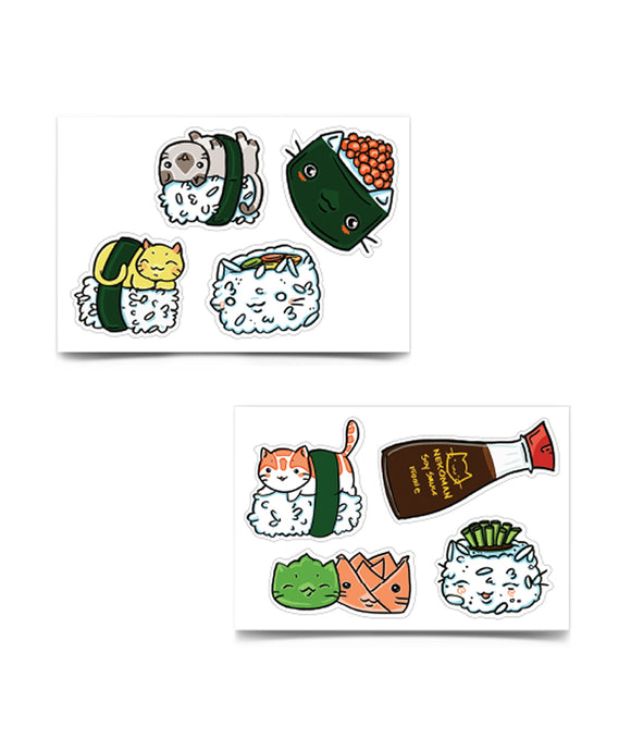 Sushi Kitty Sticker Sheet Set