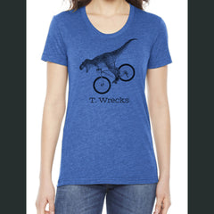 T. Wrecks Shirt- Blue Ladies Cut