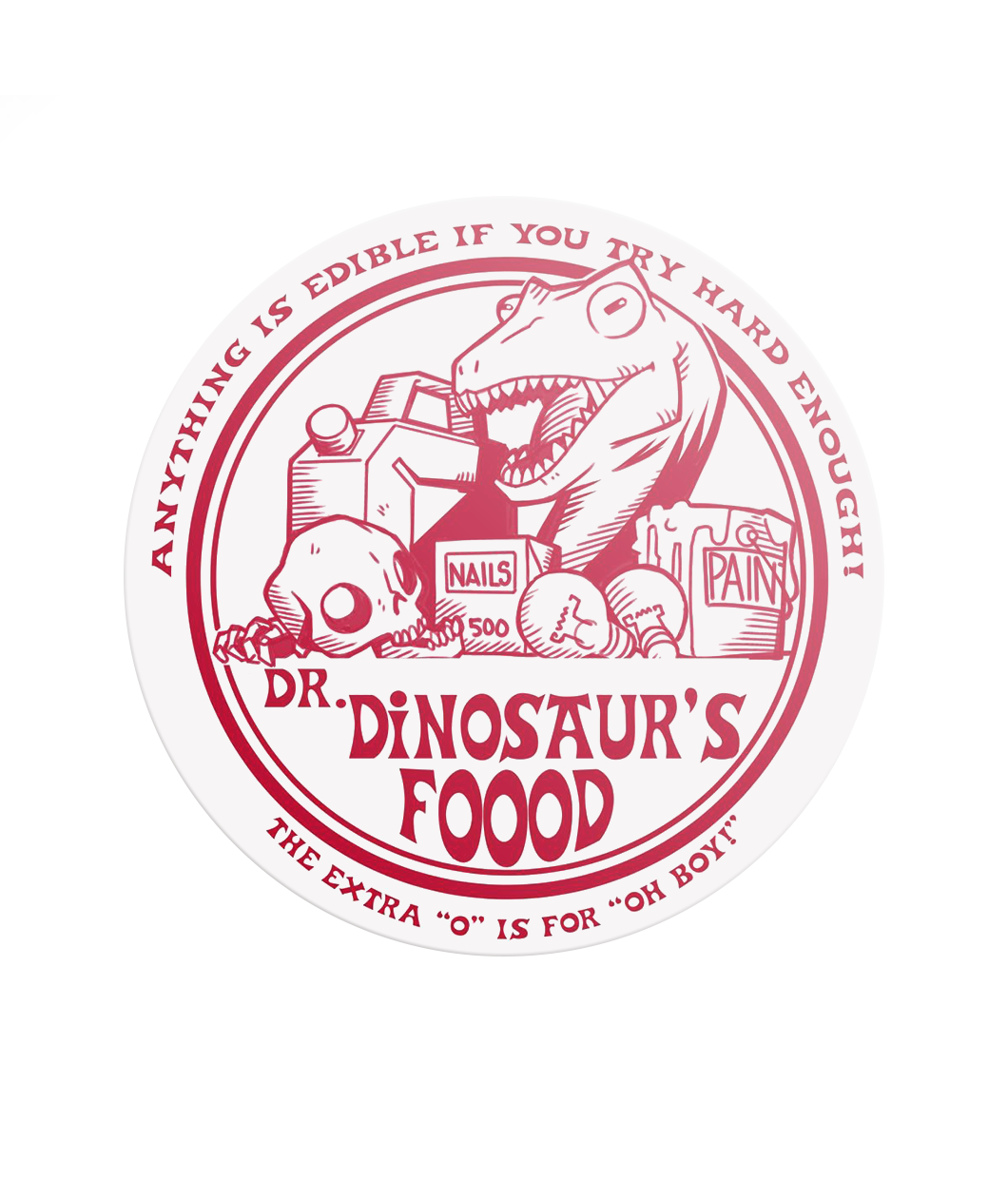 Dr. Dinosaur's FOOOD Decal (Clear)