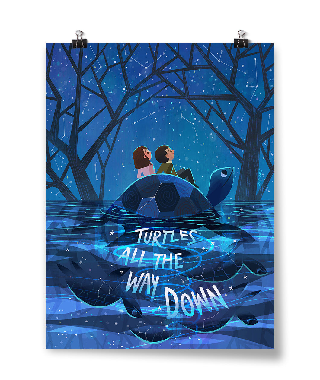 Turtles All The Way Down - Aza & Davis Poster