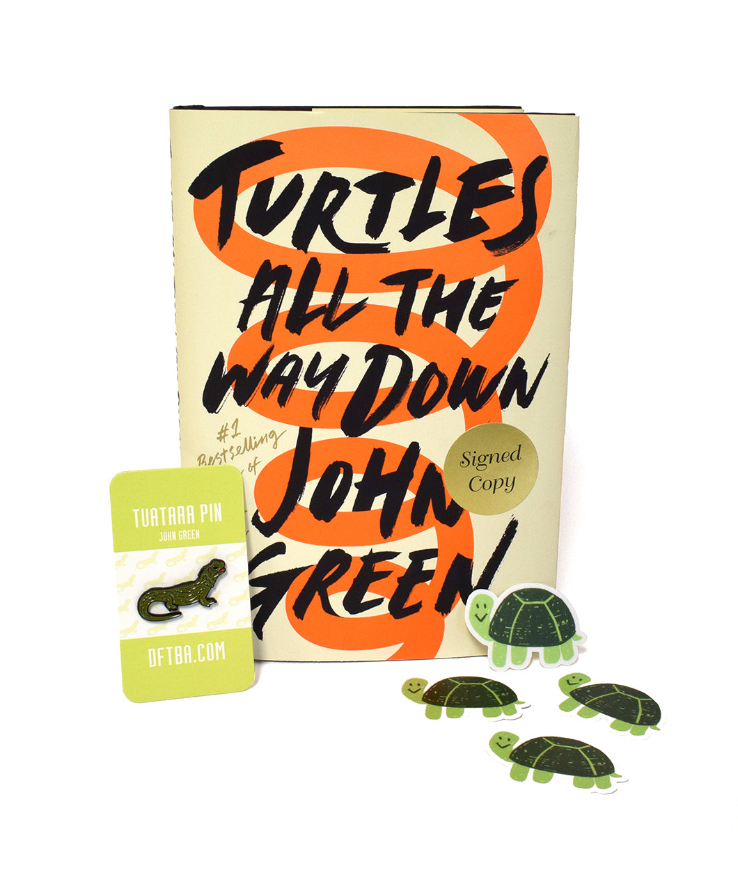 Turtles All The Way Down Book + Lapel Pin + Sticker Bundle