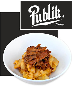 Publik Cheddar Mac & Cheese With Pulled Pork