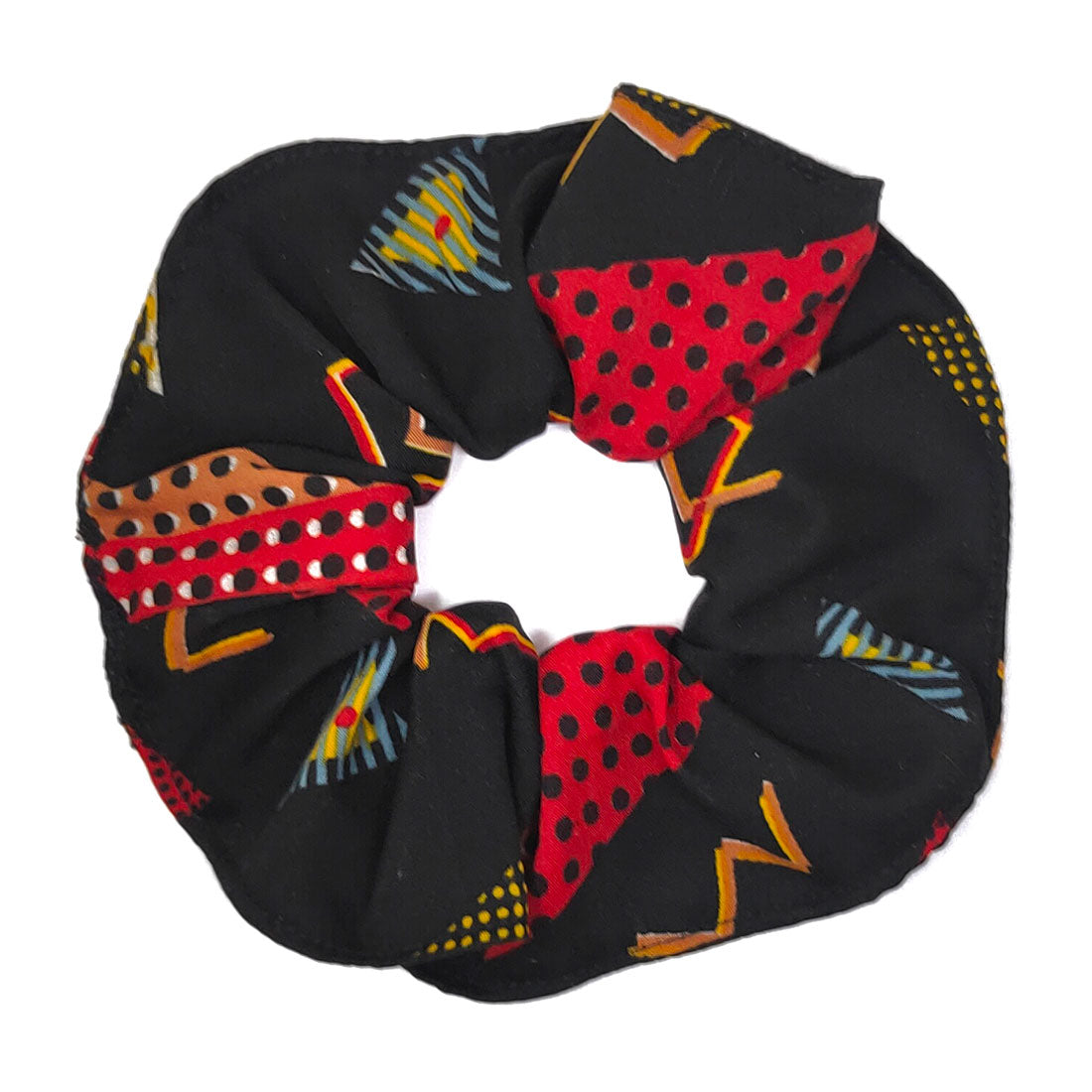 Anokhi Ada Handmade Large Printed Fabric Scrunchies/Ponytail Holders for Girls and Women (Black)-05-12H
