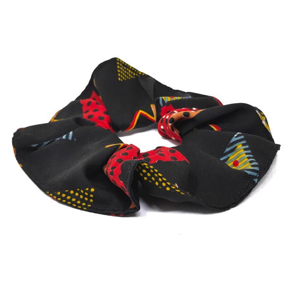 Anokhi Ada Large Printed Fabric Scrunchies/Ponytail Holders for Girls and Women (Black)-05-12H
