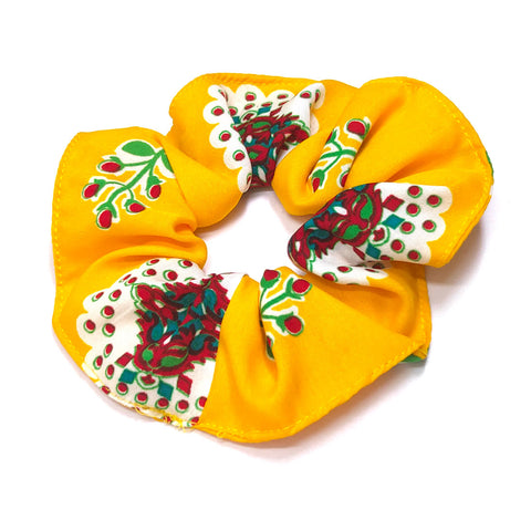 Anokhi Ada Handmade Large Printed Fabric Scrunchies/Ponytail Holders for Girls and Women (Yellow)-05-16H