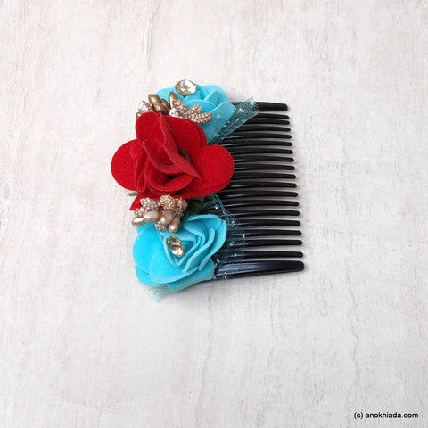 Anokhi Ada Floral Hair Comb Clip for Women and Girls, Multi-Colour (07-18)