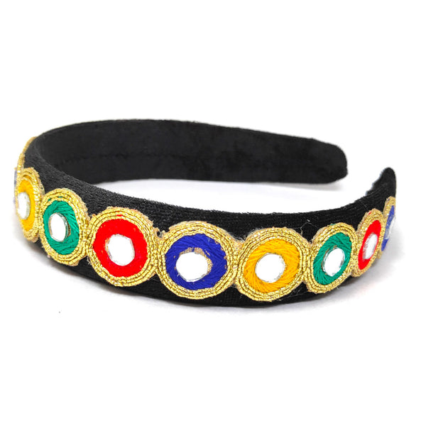 Anokhi Ada Fancy Velvet on Plastic Hairband/Headband for Girls and Women (Black)-09-21H