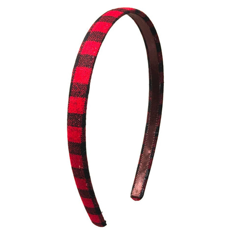 Anokhi Ada Handmade Check Design Fabric Hairband/Headband for Girls and Women (Red, 09-30H) - Anokhiada.com