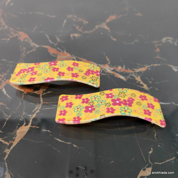 Anokhi Ada Fancy Large Tik Tak Hair Clips (Yellow, Pack of 2) 10-43