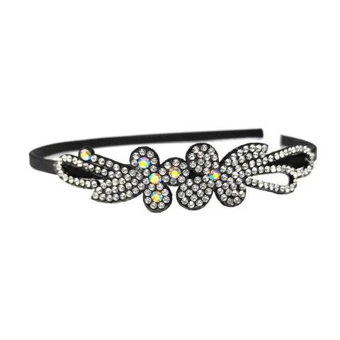 Anokhi Ada Metal Hairband/Headband with Rhinestone for Kids, Girls and Women (Black)-13-37H