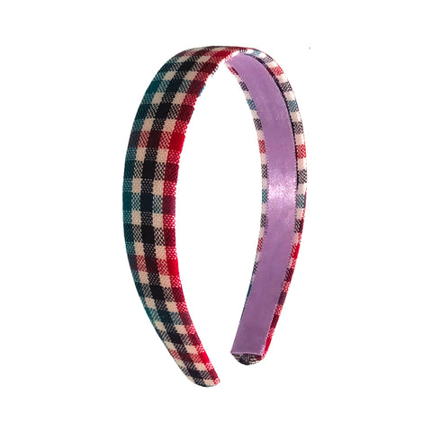 Anokhi Ada Handmade Multi-colour Check Design Fabric Hairband/Headband for Girls and Women -14-07H
