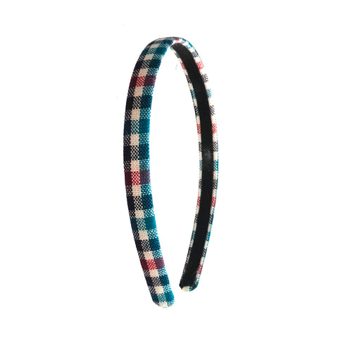 Anokhi Ada Half Inch Handmade Multi-colour Check Design Fabric Hairband/Headband for Girls and Women -14-10H