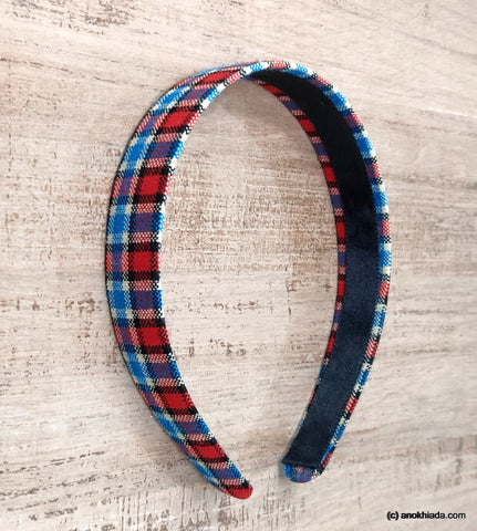 Anokhi Ada Handmade Multi-colour Check Design Fabric Hairband/Headband for Girls and Women -14-11H