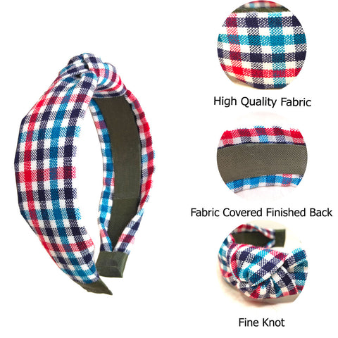 Anokhi Ada Handmade Multi-colour Check Design Fabric Knot Hairband/Headband for Girls and Women -14-14H