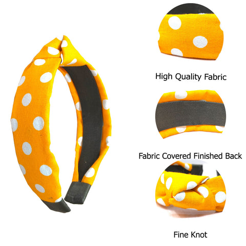 Anokhi Ada Handmade Yellow Polka Dots Design Fabric Knot Hairband/Headband for Girls and Women -14-15H