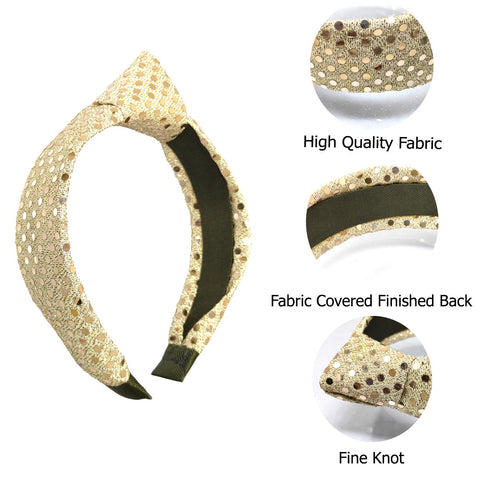 Anokhi Ada Handmade Golden Shiny Designer Fabric Knot Hairband/Headband for Girls and Women -14-16H