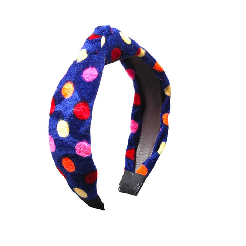 Anokhi Ada Handmade Violet Polka Dots Design Velvet Knot Hairband/Headband for Girls and Women -14-17H