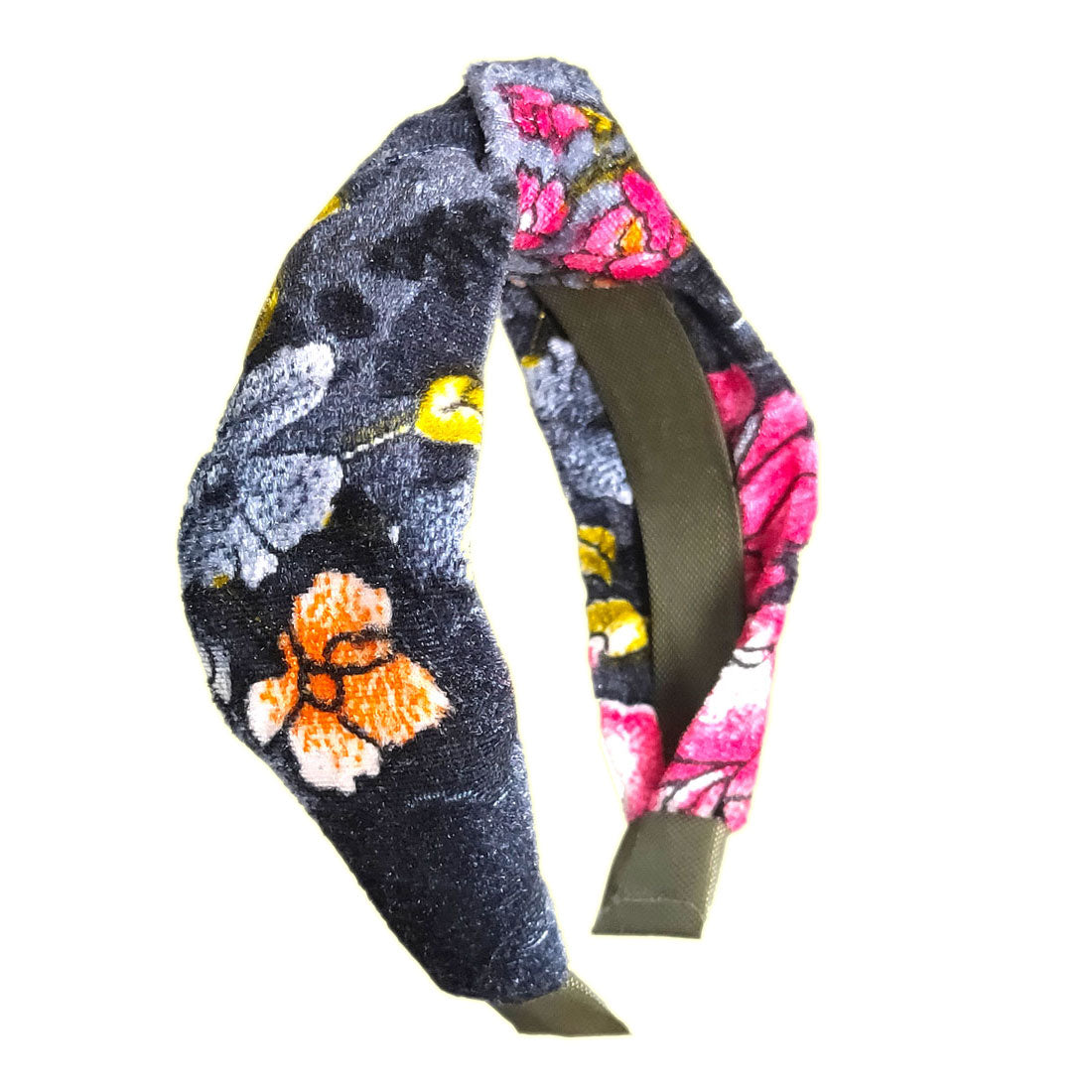 Anokhi Ada Handmade Multi-Colour Floral Design Velvet Knot Hairband/Headband for Girls and Women -14-19H